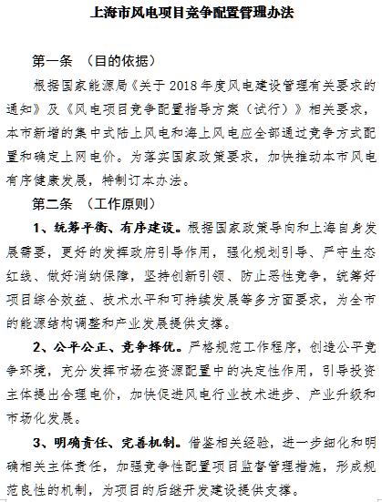 上海市海上风电竞争配置办法出台