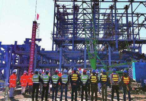 土耳其胡努特鲁电站2号锅炉钢架开始吊装