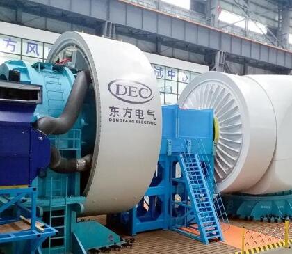 东方风电自主研发首台7兆瓦海上抗台风型风电机组完成总装