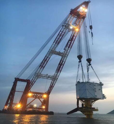 浙江舟山潮流能示范工程完成机组及海上升压平台海上吊装