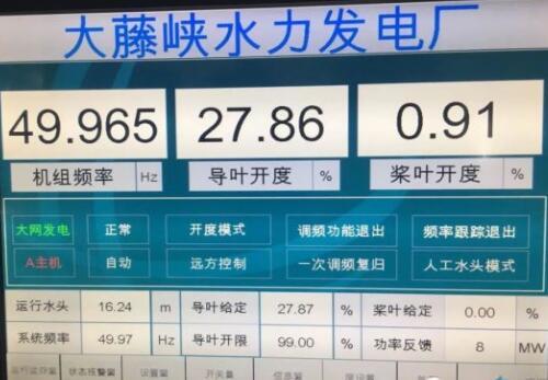 大藤峡水利枢纽工程左岸厂房首台机组调速系统成功投运