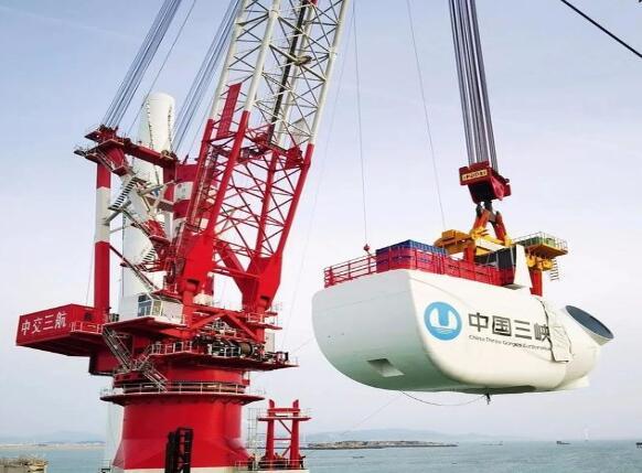 """我国自主研发单机容量最大海上风电机组""""落户""""三峡福清兴化湾风场"""