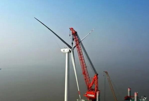 华能灌云海上风电项目首批6.45MW机组成功并网发电