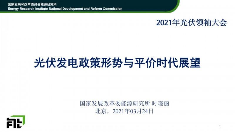 PPT分享丨时璟丽:光伏发电政策形势与平价时代展望